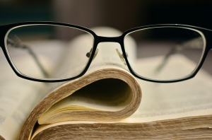 Glasses on Bible