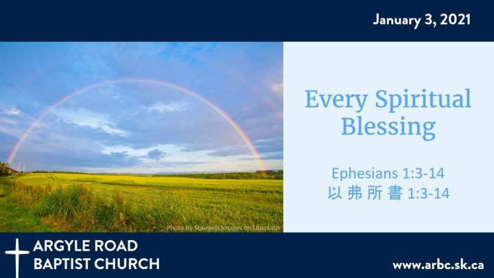 "Rainbow over a field illustrates text ""Every Spiritual Blessing"""