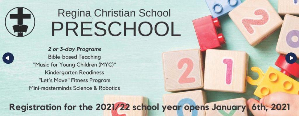 Regina Christian school is taking registrations for Preschool for next September.