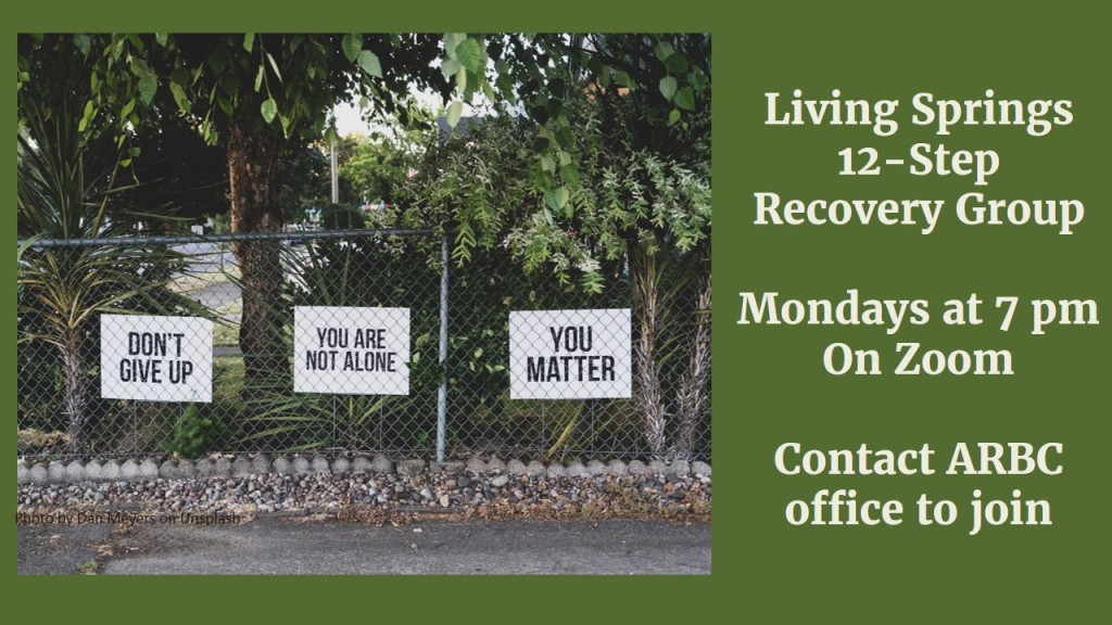 Living Springs Church hosts a weekly 12-Step Recovery Group at our church for anyone struggling with grief, addictions, or anything else. It meets Monday evenings and at the moment meetings are on Zoom. Contact the church for more information or to be put in touch with the group facilitator.
