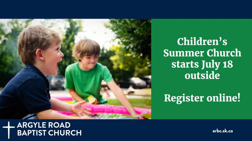 Our children's programs are going to have a Soft Start this summer, outside in Kinsman Park. All kids are welcome, but those 3 and under need to bring a parent. Families and older kids are welcome too. There will be half an hour of singing, Bible reading, and story/lesson time followed by playtime in the park. If you would like to come, please register your children online to help us keep them safe.