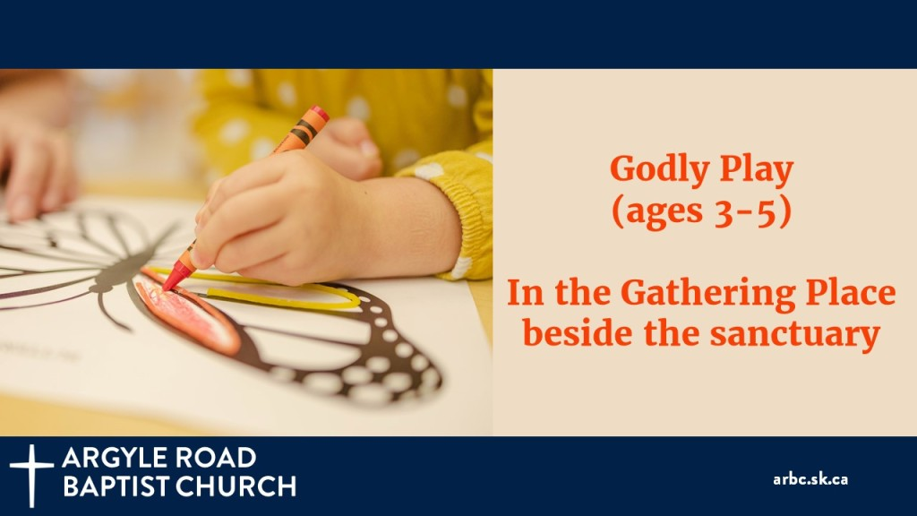 Children aged 3-5 worship, learn, and play together in Godly Play, next to the sanctuary. Masks recommended.